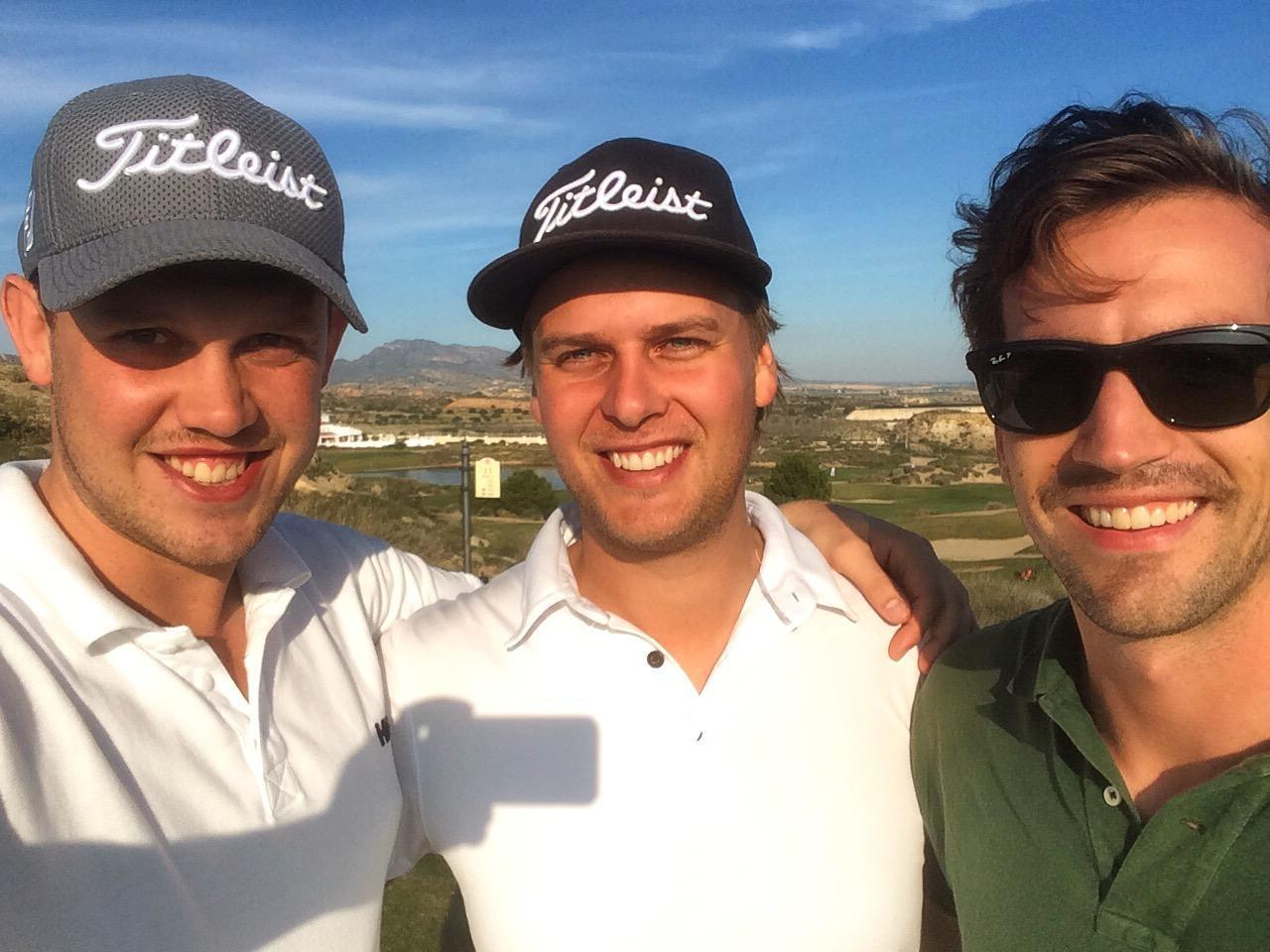 Felix (on the left) with his golf buddies enjoying a round of golf.