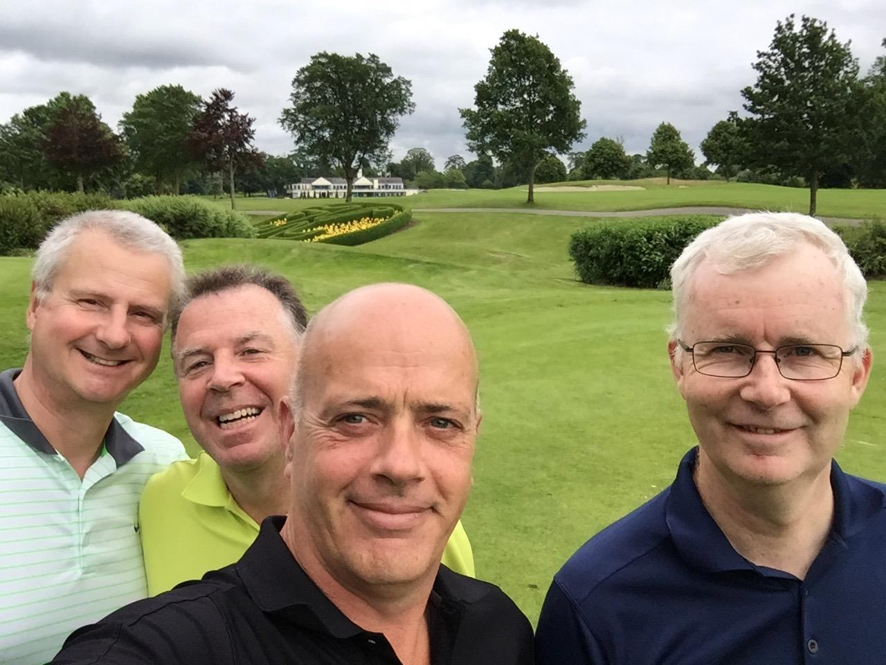 Eoin (second from right) enjoying golf with the Jubilee group (their regular fourball match).